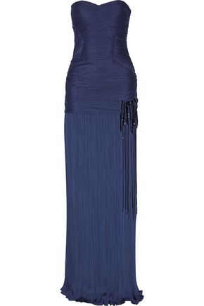 HALSTON HERITAGE Pleated jersey gown