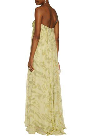 HALSTON HERITAGE Printed silk-chiffon gown