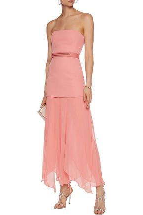 HALSTON HERITAGE Belted crepe and georgette gown