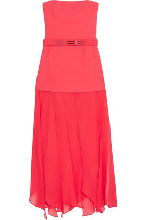 HALSTON HERITAGE Belted paneled crepe and chiffon gown