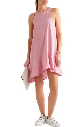 PAPER London Treacle ruffled asymmetric linen mini dress