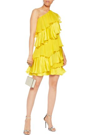 HALSTON HERITAGE Tiered one-shoulder silk-chiffon and satin mini dress