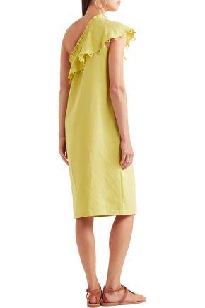 APIECE APART Reina ruffled one-shoulder Tencel and linen-blend midi dress