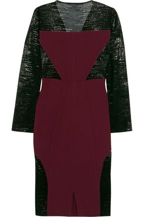 SAFIYAA Lamé-paneled crepe dress