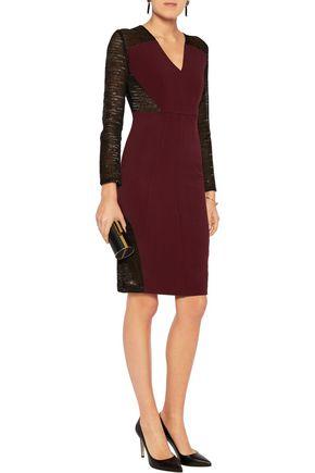 SAFIYAA Lamé-paneled crepe dress