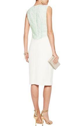 SAFIYAA Corded-lace paneled crepe dress
