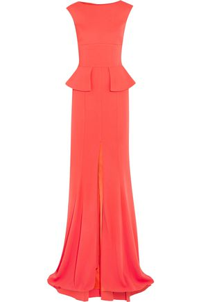 SAFIYAA Open-back stretch-crepe peplum gown