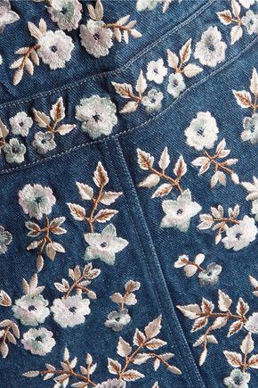 NEEDLE & THREAD Embroidered denim pinafore mini dress