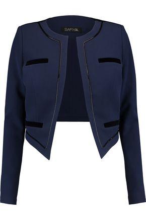 SAFIYAA Velvet-paneled crepe blazer