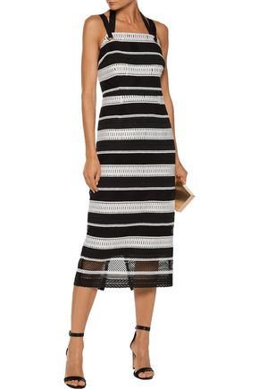 REBECCA VALLANCE Testa two-tone embroidered corded lace midi dress