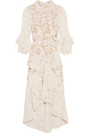 REBECCA VALLANCE The Society ruffled guipure lace dress