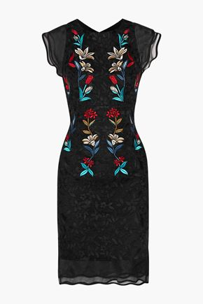 SACHIN & BABI Dream silk-organza paneled embroidered tulle dress