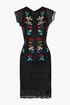SACHIN & BABI Dream silk-organza paneled embroidered tulle dress