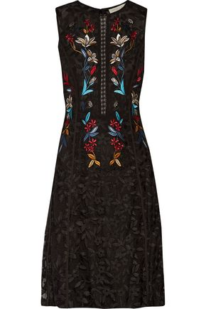 SACHIN & BABI Dewdrop pleated cutout embroidered tulle dress