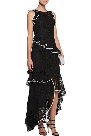 SACHIN & BABI Harmany ruffled guipure lace and silk-paneled embroidered tulle gown