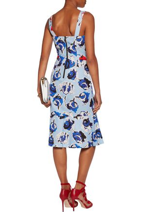 SACHIN & BABI Ailey bow-embellished printed cotton-blend canvas dress