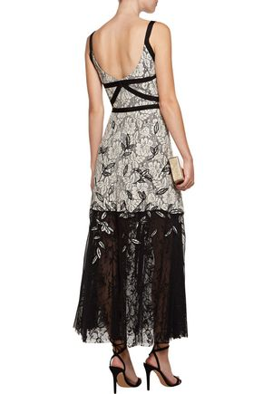 SACHIN & BABI Rose embroidered guipure lace and point d'esprit midi dress