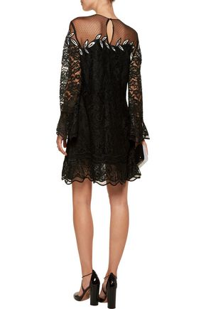 SACHIN & BABI Julliard embroidered tulle and corded lace mini dress