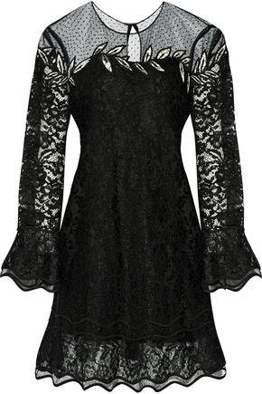 SACHIN & BABI Julliard embroidered tulle and corded lace mini dress