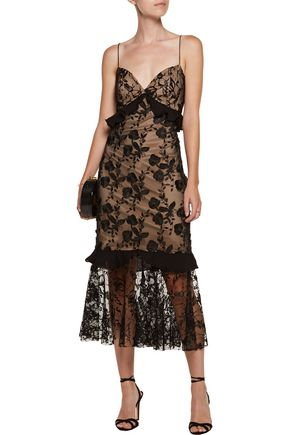 SACHIN & BABI Paris ruffled lace midi dress