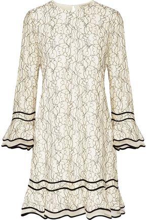 SACHIN & BABI Sandrine silk-organza paneled corded lace mini dress