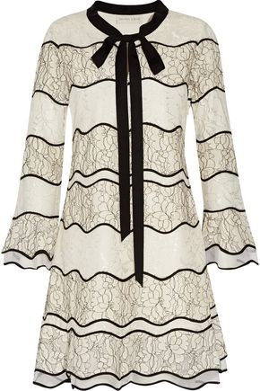 SACHIN & BABI Slipper tie-front paneled lace mini dress
