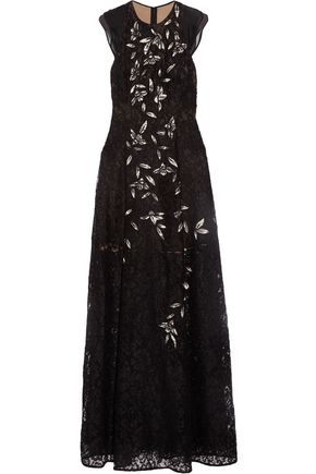 SACHIN & BABI Kennedy tulle-paneled embroidered corded lace gown