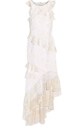SACHIN & BABI Prima ruffled lace-paneled embroidered tulle gown