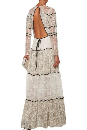 SACHIN & BABI Sara open-back pleated paneled lace and corded lace gown