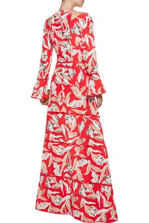 SACHIN & BABI Mina cold-shoulder ruffled printed silk gown