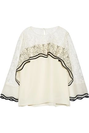 SACHIN & BABI Saute lace-paneled silk crepe de chine top