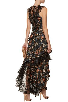 SACHIN & BABI Titiana lace-paneled ruffled printed twill gown