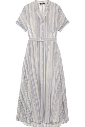 THEORY Avink striped crinkled cotton and silk-blend midi dress