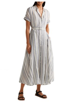 THEORY Striped crinkled cotton and silk-blend midi dress