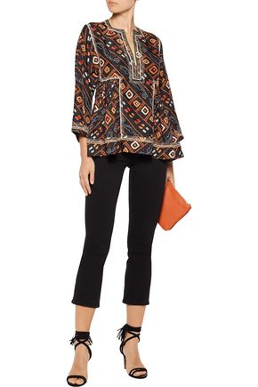 ISABEL MARANT Topaz embroidered pintucked printed silk-satin blouse