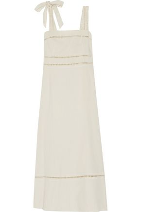 ISABEL MARANT Reign open knit-trimmed linen and cotton-blend maxi dress