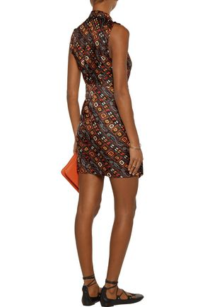 ISABEL MARANT Tabby ruffled printed silk-satin mini wrap dress
