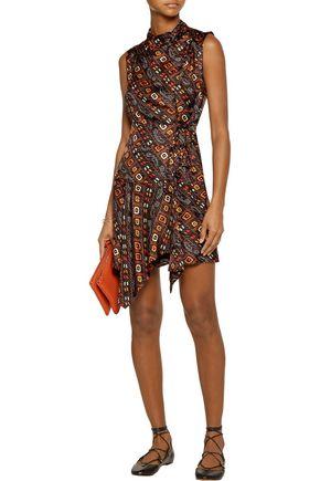 ISABEL MARANT Tabby ruffled printed silk-satin mini wrap dress