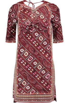 ISABEL MARANT Tacey open-back gathered printed silk-satin mini dress