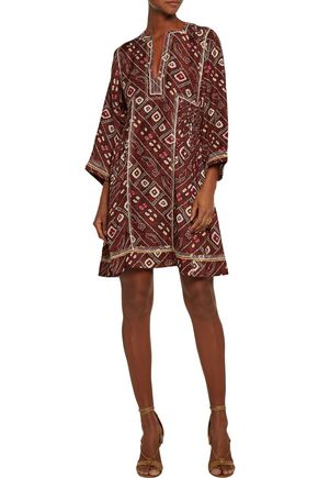 ISABEL MARANT Thurman embroidered printed silk mini dress