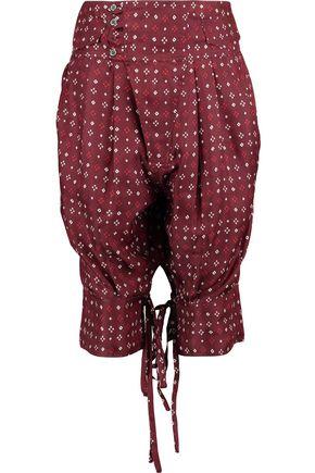 ISABEL MARANT Tyral gathered printed silk-satin shorts