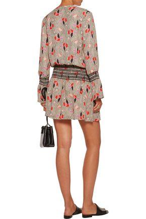 DEREK LAM 10 CROSBY Pleated smocked printed silk crepe de chine mini dress