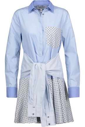 10 CROSBY DEREK LAM Tie-front flocked cotton-paneled cotton-poplin mini shirt dress
