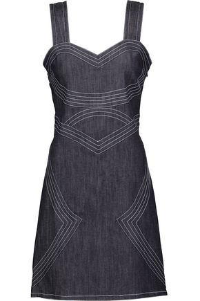 DEREK LAM 10 CROSBY Lace-up embroidered denim mini dress