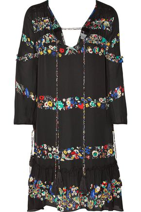 DEREK LAM 10 CROSBY Tasseled floral-print silk-crepe mini dress