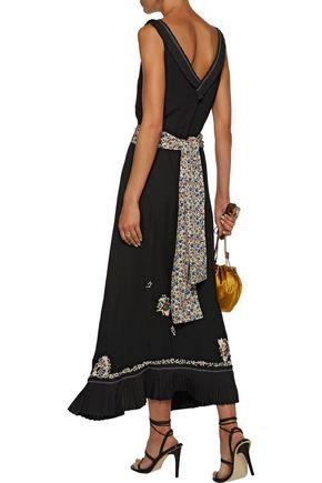 10 CROSBY DEREK LAM Embellished embroidered silk crepe de chine midi dress
