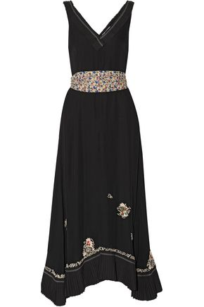 10 CROSBY DEREK LAM Embellished embroidered silk crepe de chine midi dress