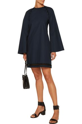 10 CROSBY DEREK LAM Lace-up embroidered cotton-poplin mini dress