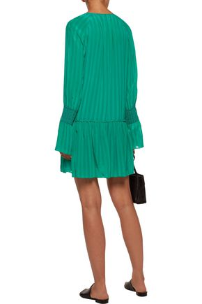 10 CROSBY DEREK LAM Smocked crinkled silk-chiffon mini dress