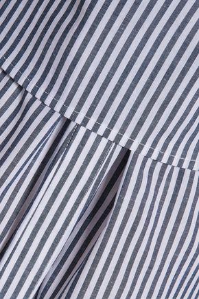 DEREK LAM 10 CROSBY Tie-front paneled striped cotton mini dress